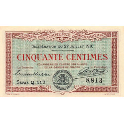 Chambéry - Pirot 44-7 - 50 centimes - Série Q 117 - 27/07/1916 - Etat : SUP