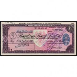 Grande-Bretagne - Afrique du Sud - Chèque Voyage - Barclays - 5 pounds - 1956 - Etat : SUP