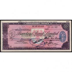 Grande-Bretagne - Afrique du Sud - Chèque Voyage - Barclays - 5 pounds - 1957 - Etat : SUP