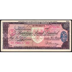 Grande-Bretagne - Chèque Voyage - Barclays - 5 pounds - 1962 - Etat : TTB