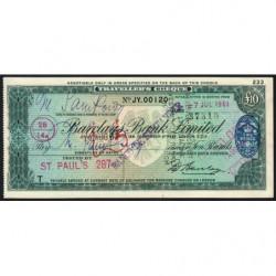 Grande-Bretagne - Chèque Voyage - Barclays - 10 pounds - 1961 - Etat : SUP