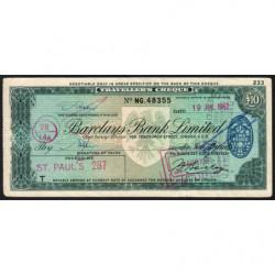 Grande-Bretagne - Chèque Voyage - Barclays - 10 pounds - 1962 - Etat : TTB