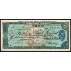 Grande-Bretagne - Burkina Faso - Chèque Voyage - Barclays - 10 pounds - 1962 - Etat : TTB