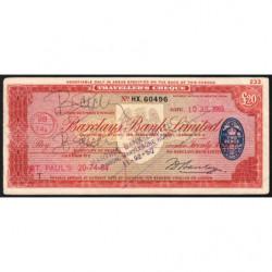 Grande-Bretagne - Chèque Voyage - Barclays - 20 pounds - 1963 - Etat : TTB
