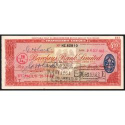 Grande-Bretagne - Chèque Voyage - Barclays - 20 pounds - 1963 - Etat : SUP