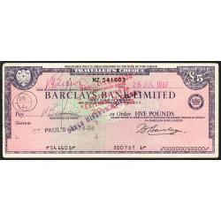 Grande-Bretagne - Chèque Voyage - Barclays - 5 pounds - 1967 - Etat : TTB