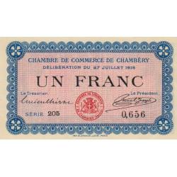 Chambéry - Pirot 44-9 - 1 franc - Série 205 - 27/07/1916 - Etat : SPL