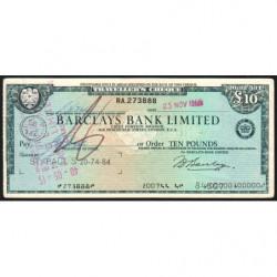Grande-Bretagne - Chèque Voyage - Barclays - 10 pounds - 1966 - Etat : TTB