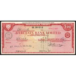 Grande-Bretagne - Chèque Voyage - Barclays - 20 pounds - 1967 - Etat : TTB+