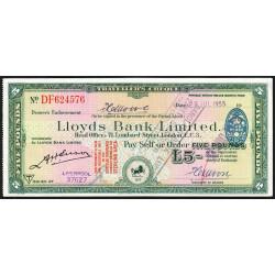 Grande-Bretagne - Chèque Voyage - Lloyds - 5 pounds - 1955 - Etat : SPL