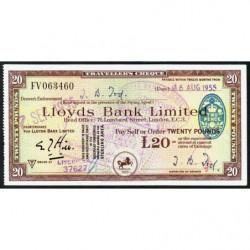 Grande-Bretagne - Chèque Voyage - Lloyds - 20 pounds - 1955 - Etat : SUP
