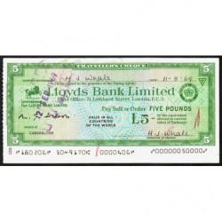 Grande-Bretagne - Italie - Chèque Voyage - Lloyds - 5 pounds - 1969 - Etat : SPL