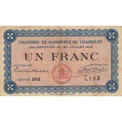 Chambéry - Pirot 44-9 - 1 franc - 1916 - Etat : TB