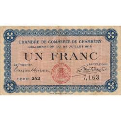 Chambéry - Pirot 44-9 - 1 franc - Série 242 - 27/07/1916 - Etat : TB