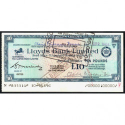 Grande-Bretagne - Italie - Chèque Voyage - Lloyds - 10 pounds - 1964 - Etat : SUP