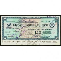 Grande-Bretagne - Italie - Chèque Voyage - Lloyds - 10 pounds - 1971 - Etat : SPL