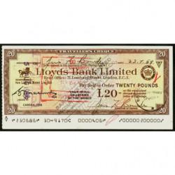 Grande-Bretagne - Chypre - Chèque Voyage - Lloyds - 20 pounds - 1969 - Etat : SUP