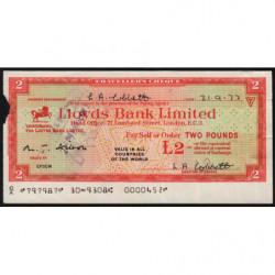 Grande-Bretagne - Chèque Voyage - Lloyds - 2 pounds - 1972 - Etat : TB-