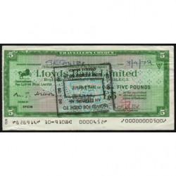 Grande-Bretagne - Chèque Voyage - Lloyds - 5 pounds - 1972 - Etat : TB