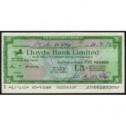 Grande-Bretagne - Chèque Voyage - Lloyds - 5 pounds - 1972 - Etat : TB+