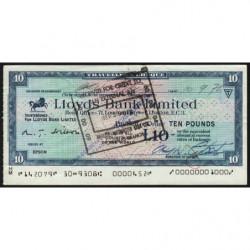Grande-Bretagne - Chèque Voyage - Lloyds - 10 pounds - 1972 - Etat : TB+