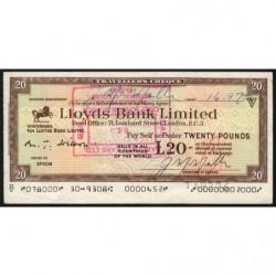 Grande-Bretagne - Chèque Voyage - Lloyds - 20 pounds - 1972 - Etat : TTB