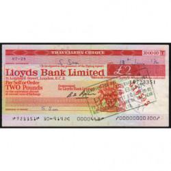 Grande-Bretagne - Chèque Voyage - Lloyds - 2 pounds - 1976 - Etat : SUP+