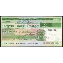 Grande-Bretagne - Chèque Voyage - Lloyds - 5 pounds - 1973 - Etat : SUP