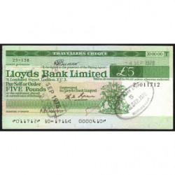 Grande-Bretagne - Chèque Voyage - Lloyds - 5 pounds - 1978 - Etat : SUP