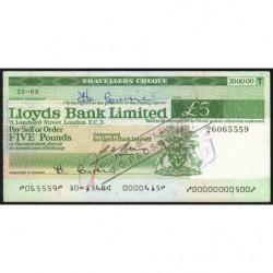 Grande-Bretagne - Chèque Voyage - Lloyds - 5 pounds - 1976 - Etat : SUP