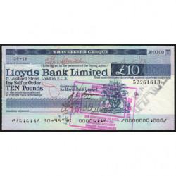 Grande-Bretagne - Chèque Voyage - Lloyds - 10 pounds - 1973 - Etat : TB+