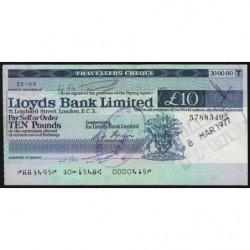 Grande-Bretagne - Chèque Voyage - Lloyds - 10 pounds - 1973 - Etat : SUP