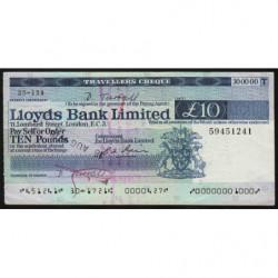 Grande-Bretagne - Chèque Voyage - Lloyds - 10 pounds - 1978 - Etat : SUP