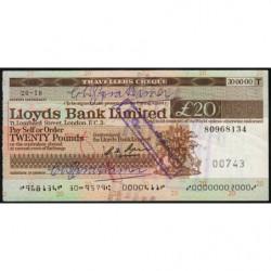 Grande-Bretagne - Chèque Voyage - Lloyds - 20 pounds - 1974 - Etat : SUP