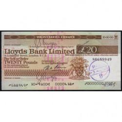 Grande-Bretagne - Chèque Voyage - Lloyds - 20 pounds - 1978 - Etat : SUP