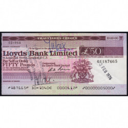 Grande-Bretagne - Chèque Voyage - Lloyds - 50 pounds - 1976 - Etat : SUP