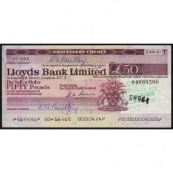 Grande-Bretagne - Chèque Voyage - Lloyds - 50 pounds - 1980 - Etat : SUP