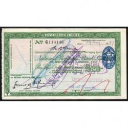 Grande-Bretagne - Chèque Voyage - National Provincial - 20 pounds - 1957 - Etat : TTB+