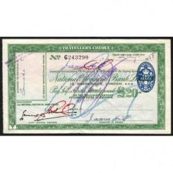 Grande-Bretagne - Chèque Voyage - National Provincial - 20 pounds - 1958 - Etat : SUP