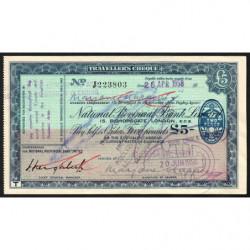 Grande-Bretagne - Chèque Voyage - National Provincial - 5 pounds - 1958 - Etat : SUP