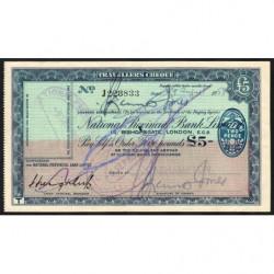Grande-Bretagne - Chèque Voyage - National Provincial - 5 pounds - 1958 - Etat : TTB-
