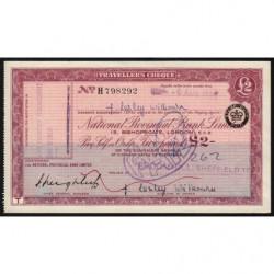 Grande-Bretagne - Chèque Voyage - National Provincial - 2 pounds - 1963 - Etat : SUP+