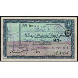 Grande-Bretagne - Chèque Voyage - National Provincial - 5 pounds - 1960 - Etat : SUP