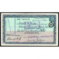 Grande-Bretagne - Chèque Voyage - National Provincial - 5 pounds - 1960 - Etat : TTB