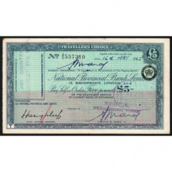 Grande-Bretagne - Chèque Voyage - National Provincial - 5 pounds - 1962 - Etat : TTB