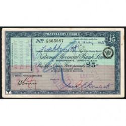 Grande-Bretagne - Chèque Voyage - National Provincial - 5 pounds - 1963 - Etat : TTB+