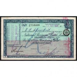 Grande-Bretagne - Chèque Voyage - National Provincial - 5 pounds - 1963 - Etat : TTB