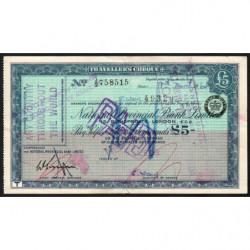 Grande-Bretagne - Chèque Voyage - National Provincial - 5 pounds - 1964 - Etat : TTB+