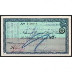 Grande-Bretagne - Chèque Voyage - National Provincial - 5 pounds - 1964 - Etat : SUP+