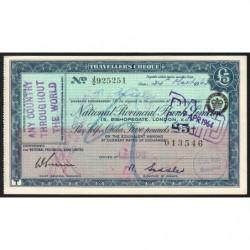 Grande-Bretagne - Chèque Voyage - National Provincial - 5 pounds - 1964 - Etat : SPL